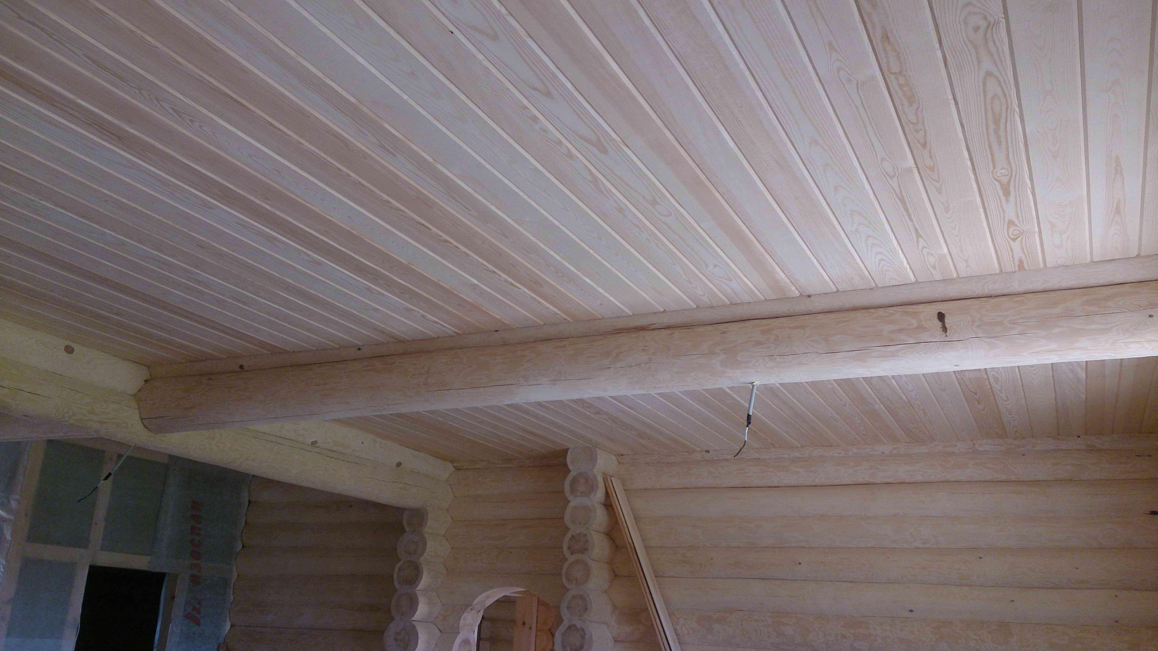 Потолок из имитации бруса своими руками 2