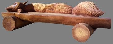 скульптура из дерева Лавка Лиса