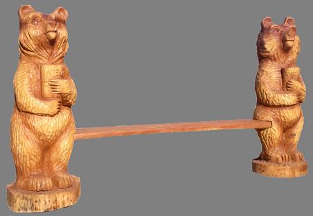 скульптура из дерева Лавка Медведи