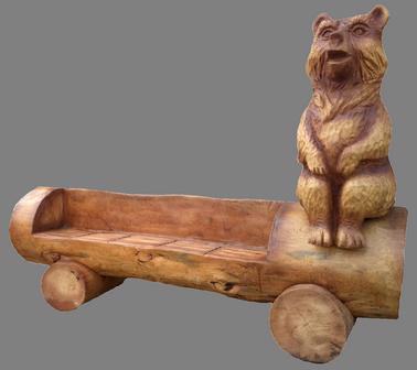 скульптура из дерева Лавка Медвежонок