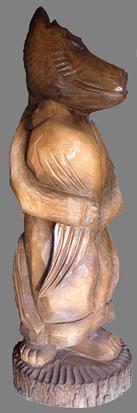 скульптура из дерева Лиса с Петухом