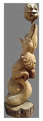 скульптура из дерева Лиса и Колобок