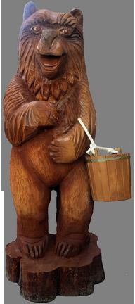 скульптура из дерева Медведь с ведром