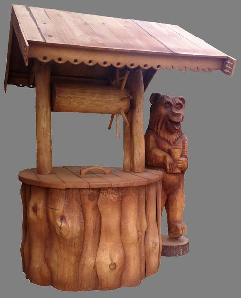 скульптура из дерева Медведь у колодца